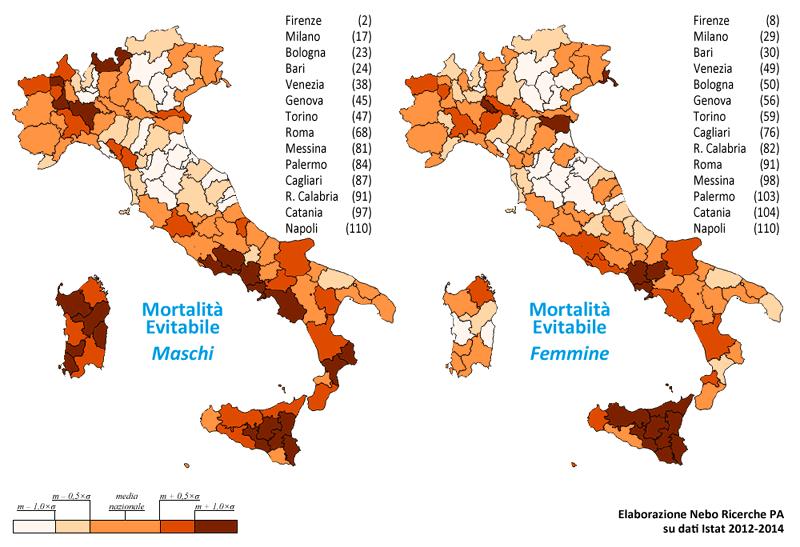 Mortalità evitabile nelle province italiane